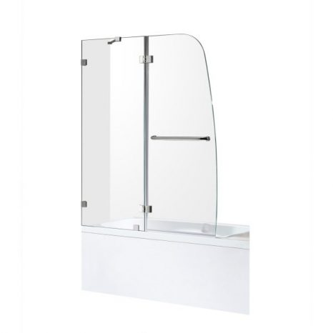 Lancer 23 in. x 72 in. Semi-Frameless Shower Door with TSUNAMI GUARD in Polished Chrome