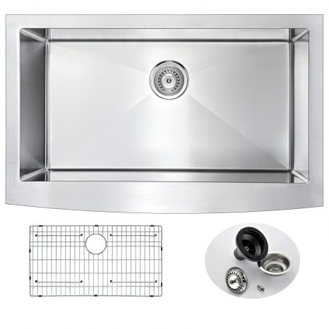 Elysian Farmhouse Stainless Steel 36 in. Single Bowl Kitchen Sink in Brushed Satin