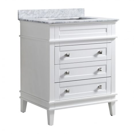 Chateau 48 in. W x 36 in. H Bath Vanity in Rich Black with Carrara White Marble Vanity Top in Carrara White with White Basin
