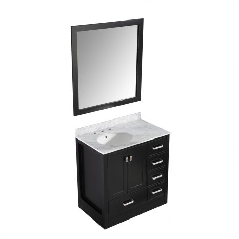 Chateau 36 in. W x 35 in. H Bath Vanity in Rich Gray with Carrara White Marble Vanity Top in Carrara White with White Basin