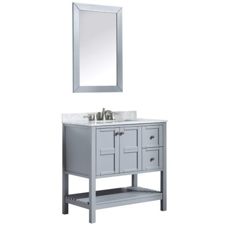 Montbrun 24 in. W x 34 in. H Bath Vanity-Rich Black with White Basin and Mirror