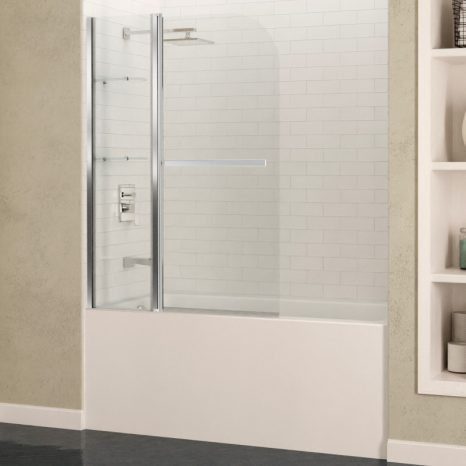 Galleon 48 in. x 58 in. Frameless Tub Door with TSUNAMI GUARD in Brushed Nickel