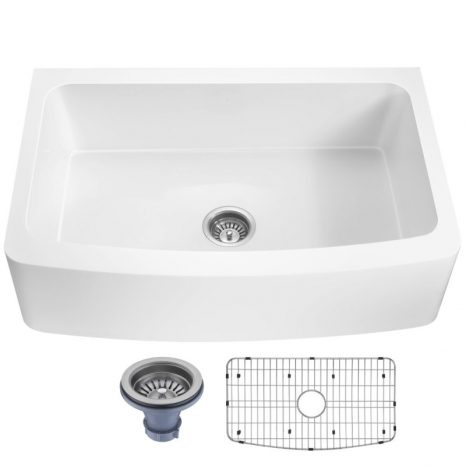 Mesa Series Farmhouse Solid Surface 33 in. 0-Hole Single Bowl Kitchen Sink with 1 Strainer in Matte White