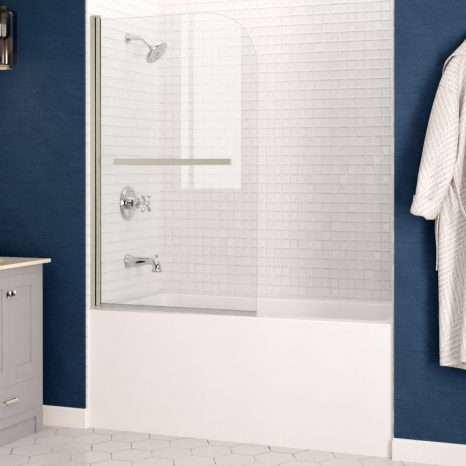 Galleon 48 in. x 58 in. Frameless Tub Door with TSUNAMI GUARD in Polished Chrome