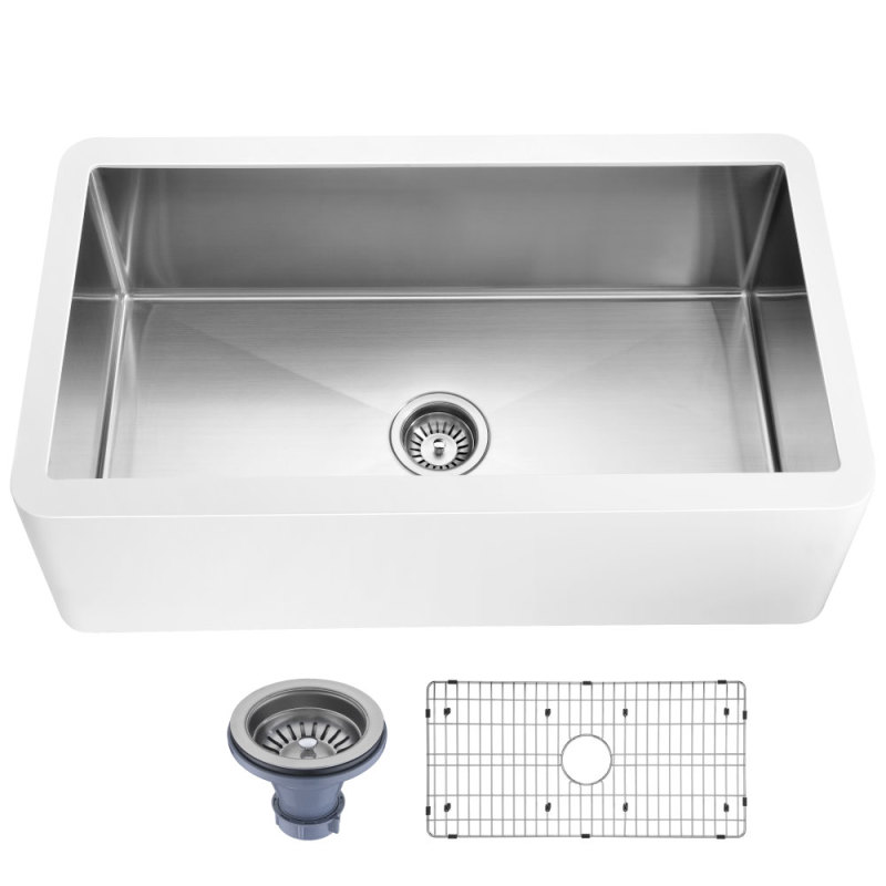 Apollo Series Farmhouse Solid Surface 36 in. 0-Hole Single Bowl Kitchen Sink with Stainless Steel Interior in Matte
