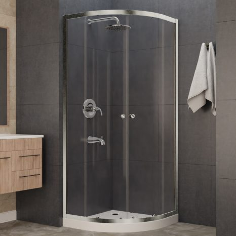 Mare 35 in. x 76 in. Framed Shower Enclosure with TSUNAMI GUARD in Polished Chrome