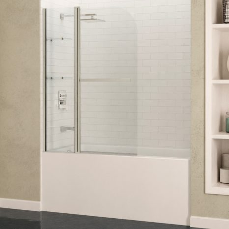 Myth 34 in. x 58 in. Frameless Tub Door with TSUNAMI GUARD in Brushed Nickel