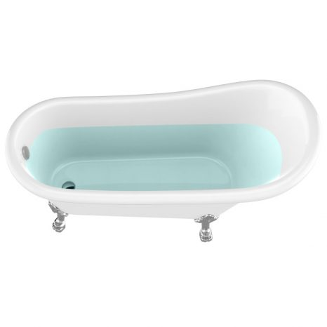 69.29″ Belissima Double Slipper Acrylic Claw Foot Tub in White