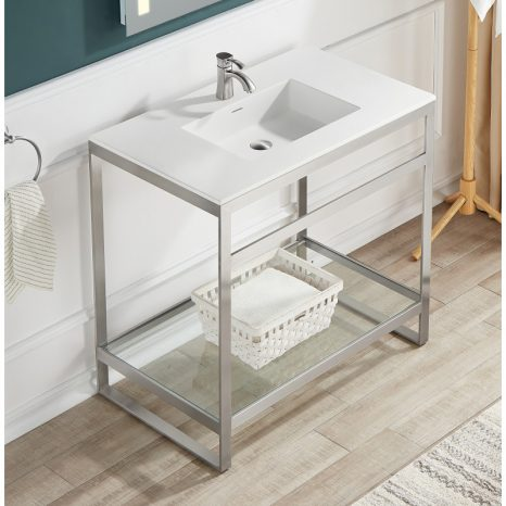 Orchard 36 in. Console Sink in Matte Black with Glossy White Counter Top