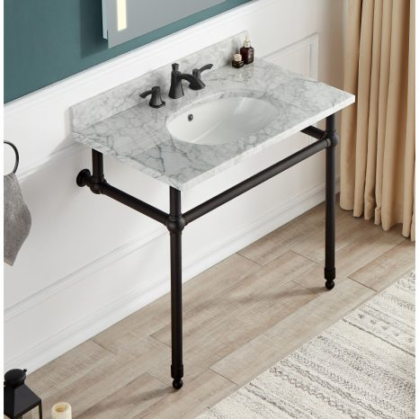 Verona 34.5 in. Console Sink in Brushed Gold with Carrara White Counter Top