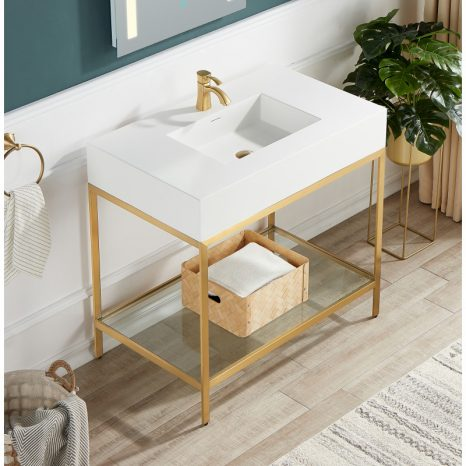 Verona 34.5 in. Console Sink in Brushed Nickel with Carrara White Counter Top